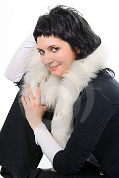 Beauty Smiling Brunette Woman In Fur Stock Photo - Image: 1908500