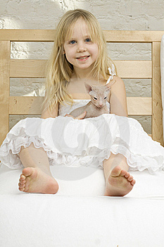Joyful Little Girl With Kitten Stock Images - Image: 19010324
