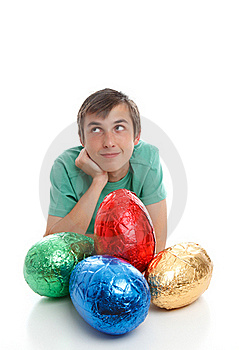 Boy With Large Easter Eggs Royalty Free Stock Photography - Image: 19012387