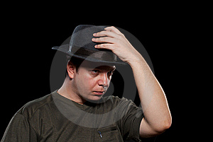Man In A Grey Hat Royalty Free Stock Images - Image: 19014439