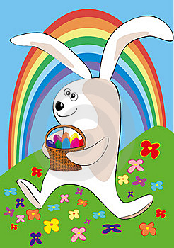 The Easter Rabbit Bearing A Basket Of Easter Eggs Stock Photo - Image: 19023220