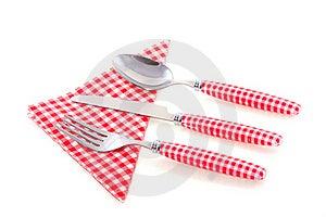 White Checkered Cutlery Stock Photos - Image: 19028583