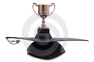 Trophy And Mortar Board Hat Stock Photography - Image: 19037642