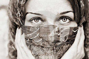 Sensual Eyes Of Woman Behind Vail Royalty Free Stock Photography - Image: 19039697