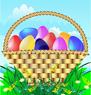 Easter Basket With Eggs Royalty Free Stock Images - Image: 19039909