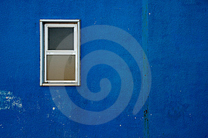 Small Window On Blue Wall Royalty Free Stock Images - Image: 19039929