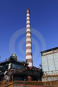 Disused Steel Plant Chimney With Blue Sky Stock Image - Image: 19040141