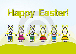 Paper Cut Easter Rabbits, Kids Illustration Royalty Free Stock Photography - Image: 19042007