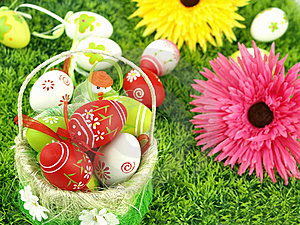 Spring Flowers And Colorful Easter Eggs Royalty Free Stock Image - Image: 19045176
