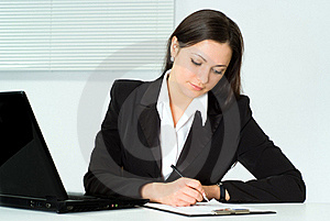Beautiful Girl Working In The Office Stock Photos - Image: 19045313