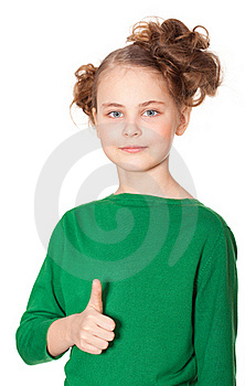 Smiling Girl Gesturing Ok Sign Royalty Free Stock Photography - Image: 19045837