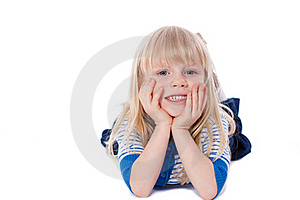 Happy Smiling Little Girl Lie Stock Photography - Image: 19045882