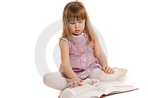 The Little Girl With The Book Royalty Free Stock Photos - Image: 19046358