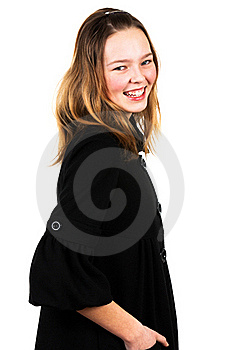 Girl In A Black Coat Stock Images - Image: 19046984