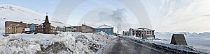 Barentsburg - Russian City In The Arctic, PANORAMA Royalty Free Stock Image - Image: 19048036