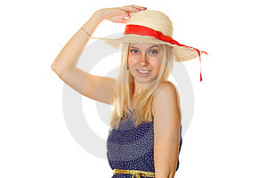 Beautiful Young Blond Woman In A Straw Hat Royalty Free Stock Photos - Image: 19049488