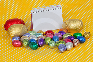 Blank Notebook With Easter Chocolate Eggs. Stock Photo - Image: 19049650