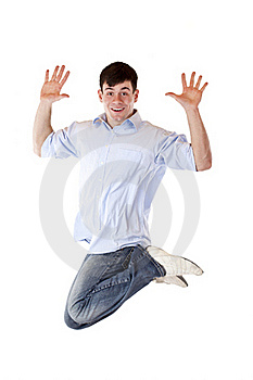 Young Dynamic Sportive Man Jumps High In The Air Royalty Free Stock Images - Image: 19052409