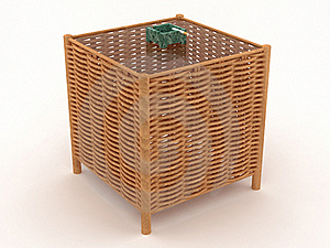 Weaved Table With A Green Ashtray Royalty Free Stock Images - Image: 19053029