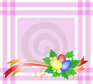 Easter Eggs On A Pink Tablecloth Stock Photography - Image: 19053082