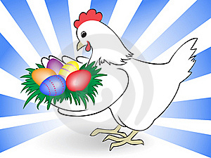 Hen Carry Easter Eggs Stock Photo - Image: 19053120