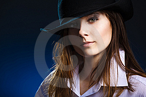 Woman With Hat And Black Eyeshadow Stock Photography - Image: 19053602