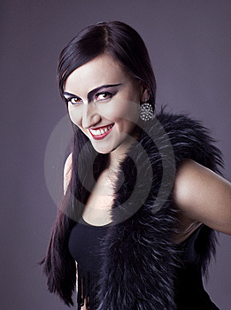 Beauty Woman Smile In Fur Boa - Retro Make-up Stock Photography - Image: 19054612