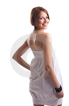 Beauty Woman On White Cloth Look At You Smile Royalty Free Stock Photos - Image: 19054628
