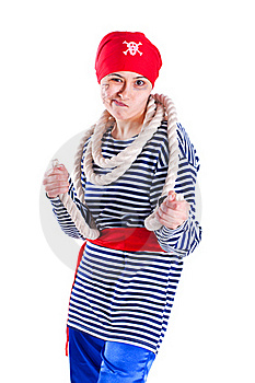 Girl Clown Costume Pirate With A Rope Royalty Free Stock Images - Image: 19059949