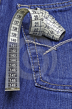 Tape Measure On Jeans Pocket Royalty Free Stock Photos - Image: 19066508