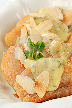 Roasted Chicken With Herb Sauce And Almonds Royalty Free Stock Images - Image: 19070939
