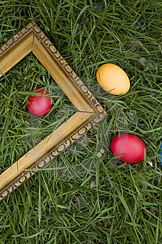 Colored Eggs And Frame Stock Photography - Image: 19074272