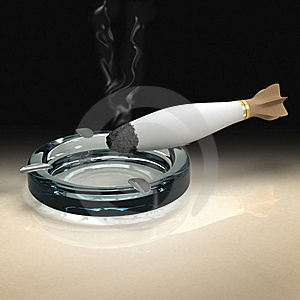 Cigarette As Smoking Bomb In Dark Atmosphere Stock Photography - Image: 19075302