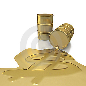 Two Golden Barrels With Dollar Embossed Spill Royalty Free Stock Photo - Image: 19075315