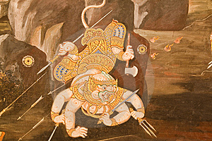 Thai Style Painting Art On Temple Wal Royalty Free Stock Photo - Image: 19077155
