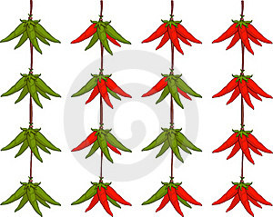 Peppers Hanging On A Rope Royalty Free Stock Images - Image: 19077509