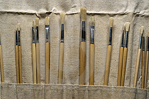 New Paintbrushes In Canvas Pouch Royalty Free Stock Images - Image: 19077919