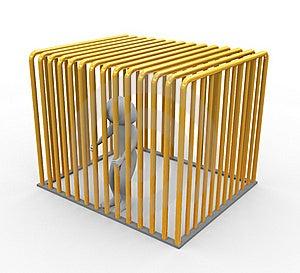 Prisoner In Golden Jail Royalty Free Stock Photo - Image: 19077995