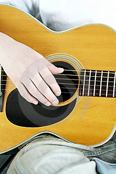 Fingers Strum Acoustic Guitar Stock Photo - Image: 19086460