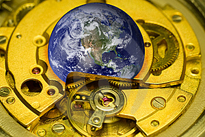 Earth Clock Mechanism. Stock Image - Image: 19087341