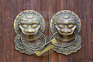 Bronze Knocker And Lock Royalty Free Stock Photography - Image: 19087777