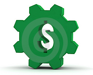 Green Gear With A Dollar Sign Royalty Free Stock Photo - Image: 19088085