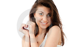 Beautiful Young Woman, Hands In Shape Of Heart Royalty Free Stock Photography - Image: 19092387