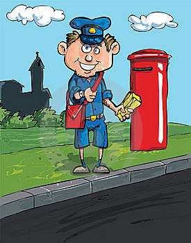 Cartoon Postman By A Mailbox Royalty Free Stock Image - Image: 19094596