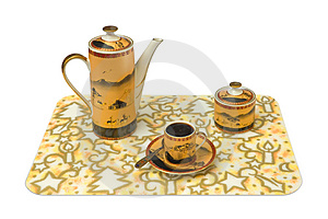 Cup, Teapot, Sugar Bowl On Tray Royalty Free Stock Images - Image: 1916769