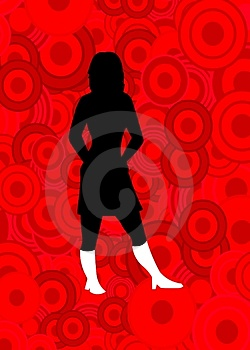 Woman On Red Circles Royalty Free Stock Image - Image: 1919736
