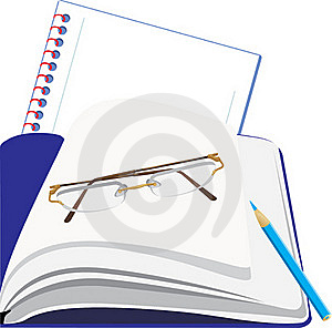 Notepad And Glasses Royalty Free Stock Photos - Image: 19101438