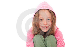 Young Girl Smiling With Hood Stock Photo - Image: 19104010