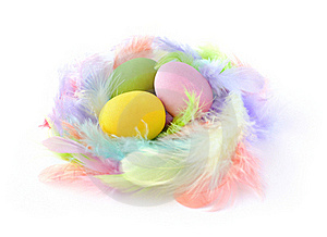 Three Easter Eggs In Feather Nest Stock Photo - Image: 19105650