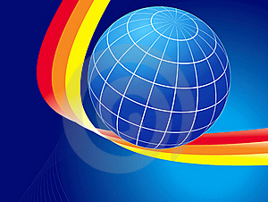 Earth Globe And Colored Curves Royalty Free Stock Photography - Image: 19107467